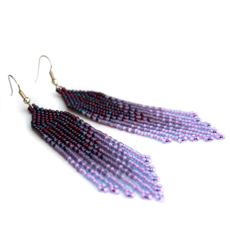 купить подарок дочери на день рождения вечерние сережки висюльки из бисера фиолетового цвета