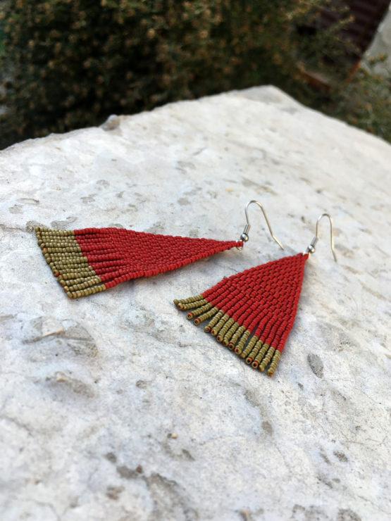 бижутерия в этническом стиле темно красные сережки из бисера купить