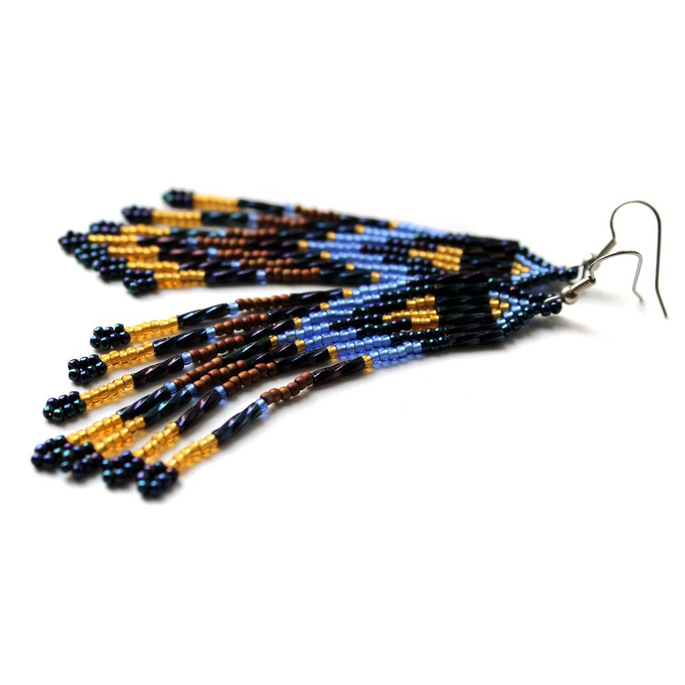 модные длинные серьги купить бижутерия из бисера цена