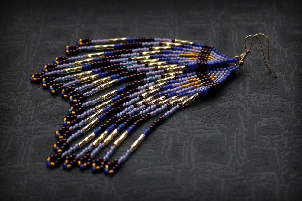 стильные длинные серьги украшения из бисера ручной работы