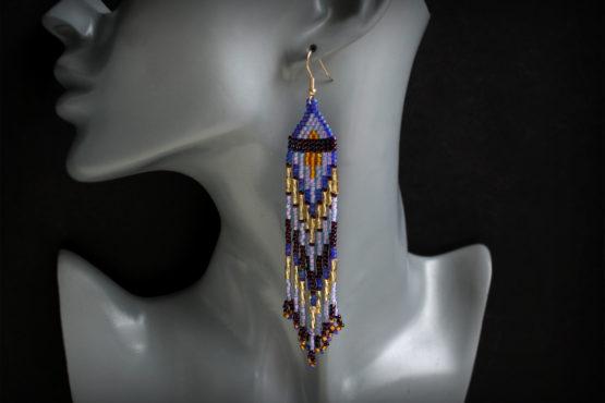 фиолетовые сережки красивые длинные сережки купить