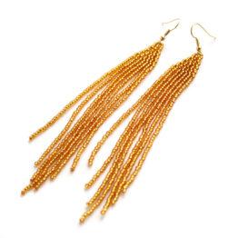 купить длинные золотые серьги из бисера