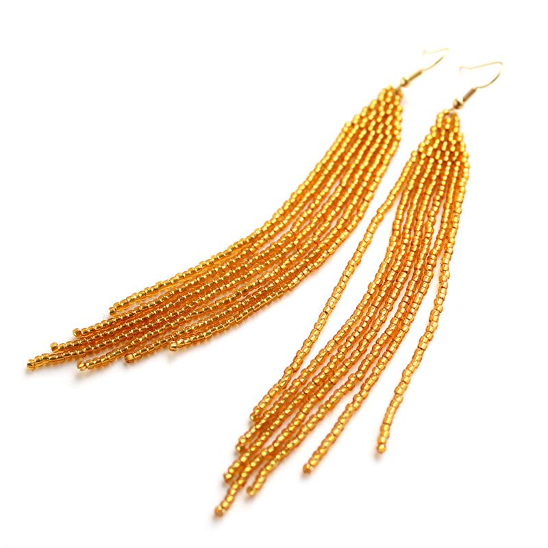 купить длинные вечерние сережки золотого цвета бижутерия
