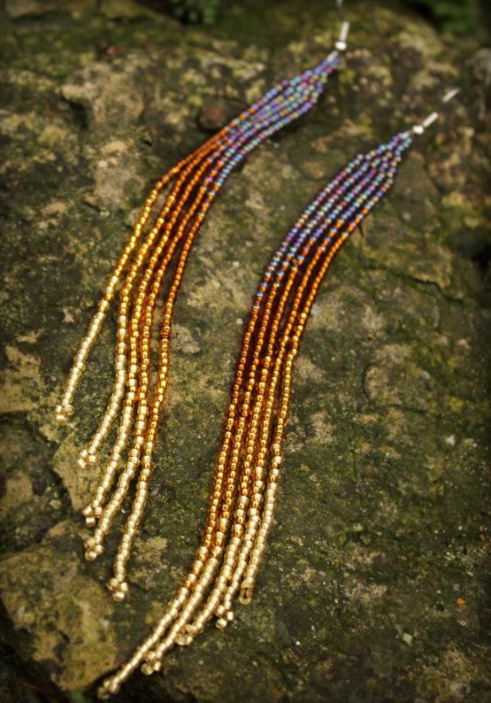 Очень красивые длинные висячие сережки купить