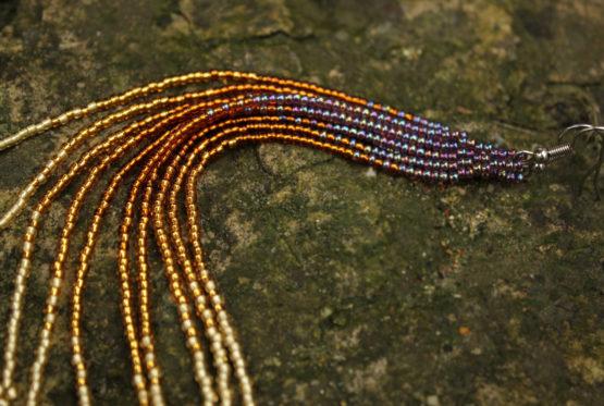 Купить длинные модные висячие серьги из бисера