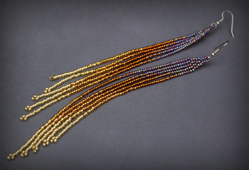 купить очень длинные серьги из бисера