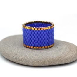 Купить синее широкое кольцо ручной работы в интернет-магазине Украшения от Anabel