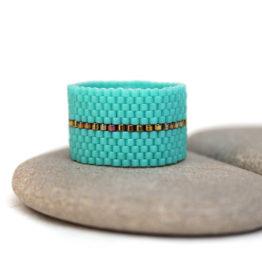 купить модное широкое женское кольцо из бирюзового бисера