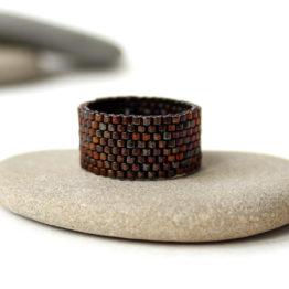 Стильное широкое женское кольцо ручной работы купить