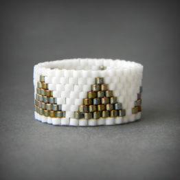 белое кольцо купить украшения из бисера ручной работы