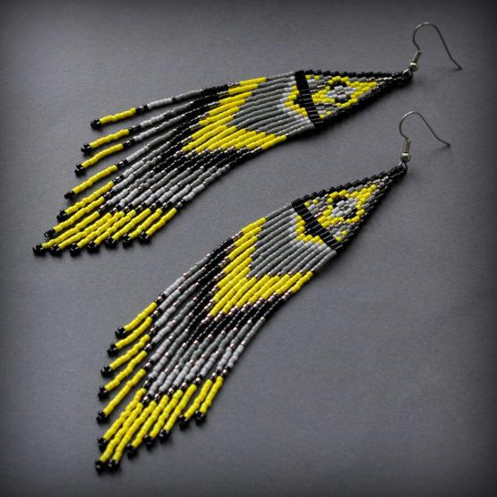 эффектные авторские сережки из бисера