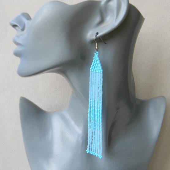 голубые серьги фото купить украшения ручной работы в интернет магазине бижутерия из бисера купить