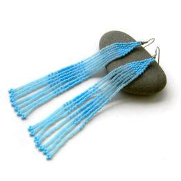 длинные голубые серьги цена купить работы из бисера красивые длинные сережки женские длинные серьги