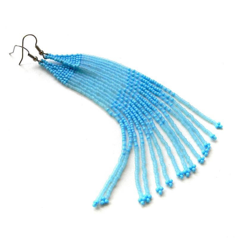 серьги к голубому платью купить стильные украшения ручной работы интересные сережки