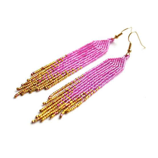 Купить розовые серьги ручной работы купить украшения из бисера ручной работы