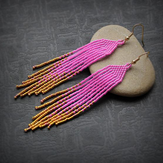 Купить вечерние розовые серьги из бисера стильная бисерная бижутерия к вечернему платью