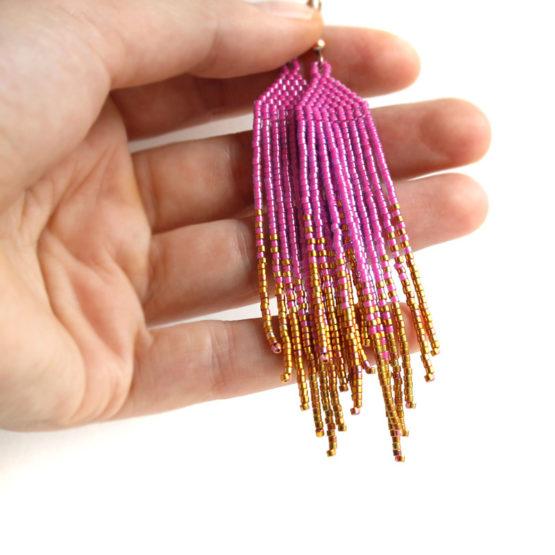 Купить длинные розовые серьги из бисера серьги длинные висячие бижутерия купить