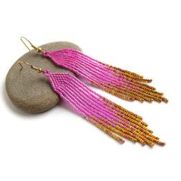 Купить розовые с золотым сережки с бисерной бахромой бисерное украшение для девушки купить
