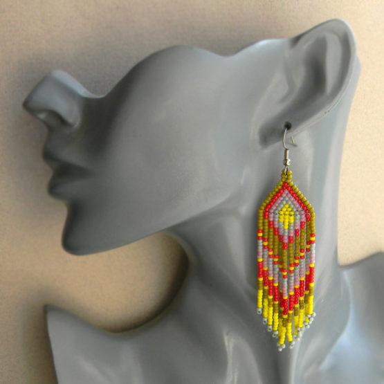 этно серьги купить украшения из бисера ручной работы