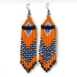 купить яркие сережки из оранжевого бисера россия