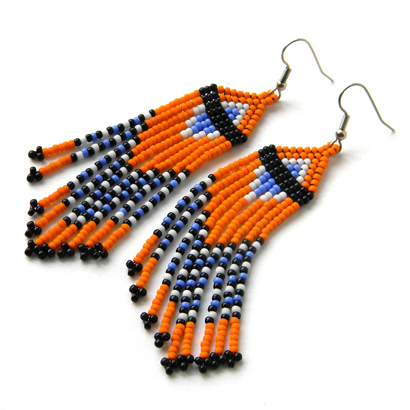 длинные оранжевые серьги из бисера россия