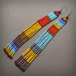 очень длинные разноцветные серьги из бисера в этно стиле африканском