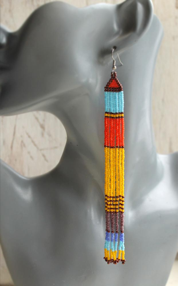 купить очень длинные разноцветные серьги из бисера