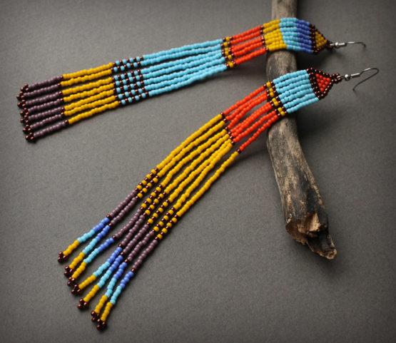 яркие разноцветные серьги в африканском стиле купить