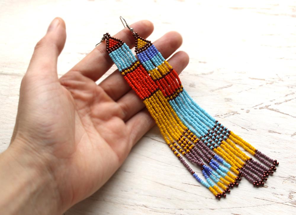 бисерные разноцветные серьги украшения от анабель 27