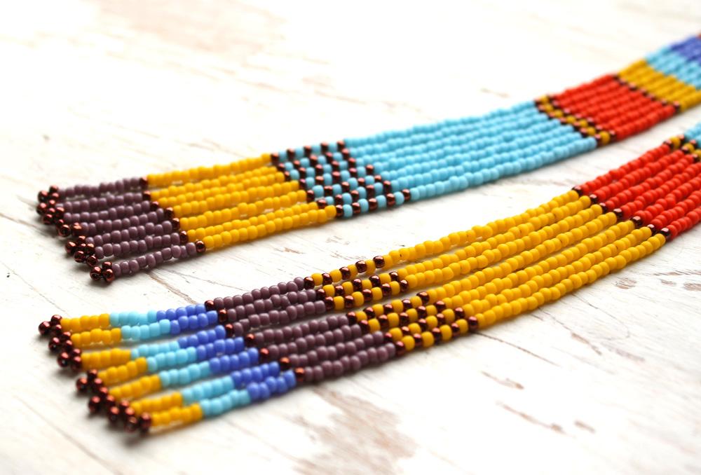 необычные разноцветные серьги ручной работы в стиле этно