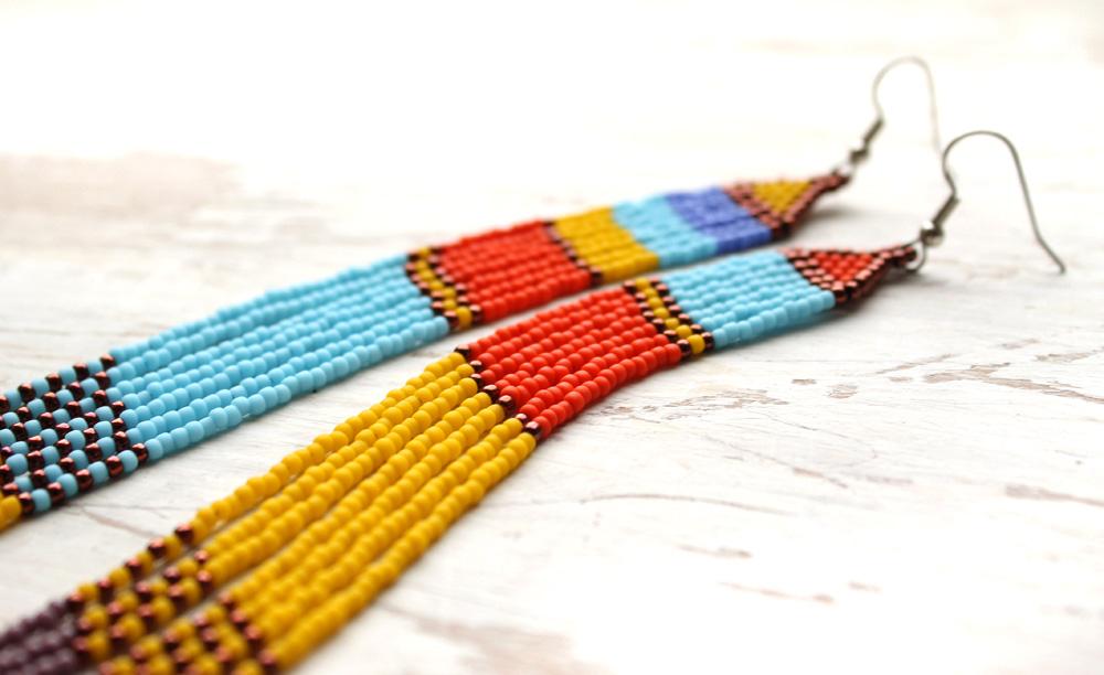 разноцветные серьги купить этно бижутерию
