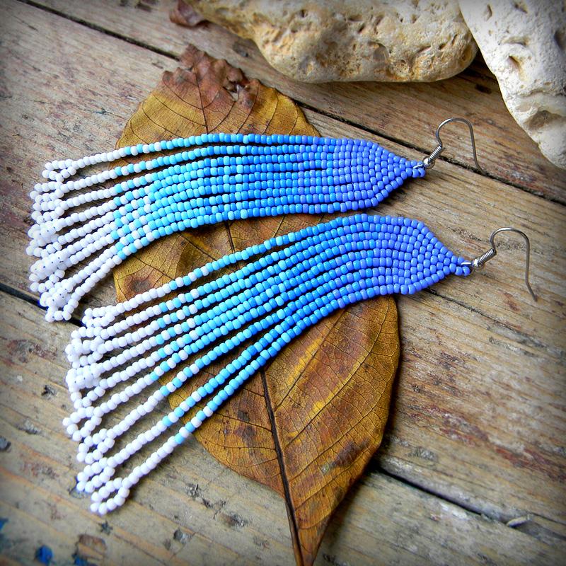 бисерные серьги к голубым глазам купить модные женские серьги из бисера украшения ручной работы