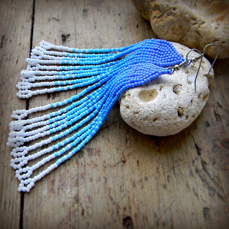 купить женские длинные серьги под голубое платье интернет магазин бисерных украшений