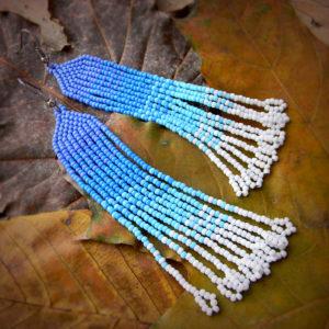 длинные висячие бисерные серьги под каре купить сережки бижутерия из бисера в интернет магазине