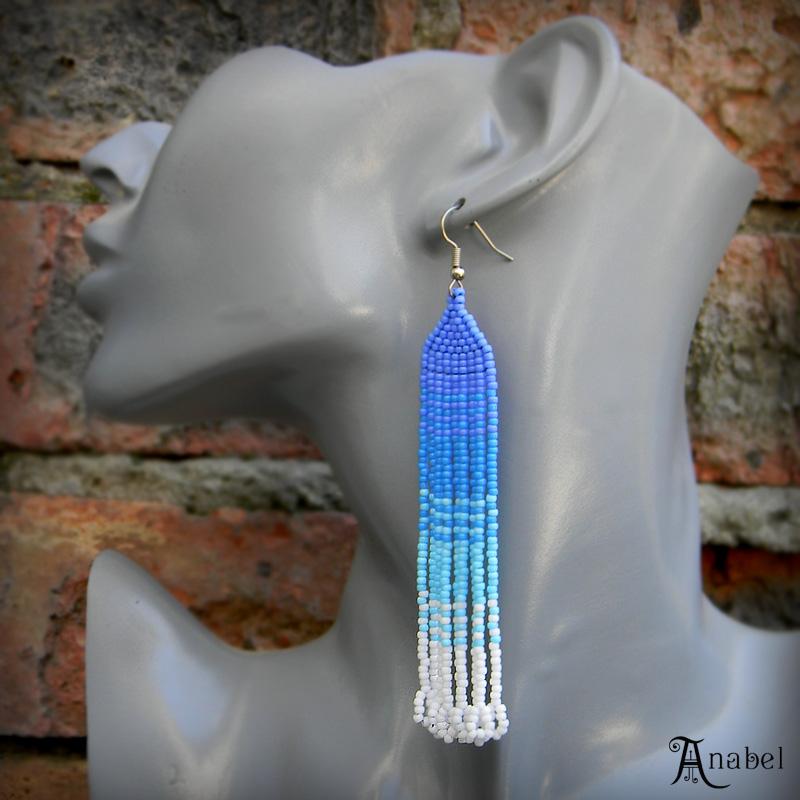 купить длинные висячие серьги к голубому платью украшения из бисера ручной работы магазин