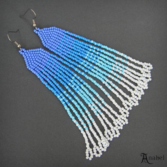 купить длинные голубые серьги из японского бисера с висюльками бахромой интернет магазин