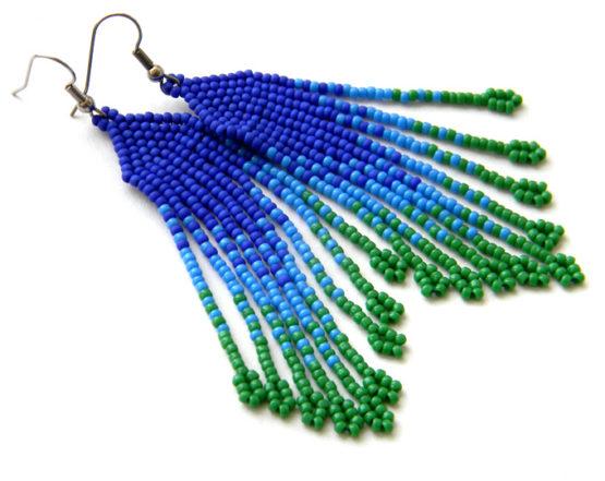 женские украшения из бисера сережки с бахромой