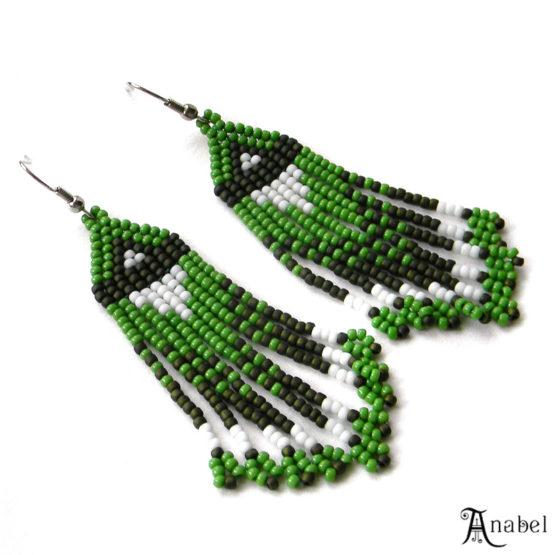 купить зеленые сережки из бисера в интернет магазине