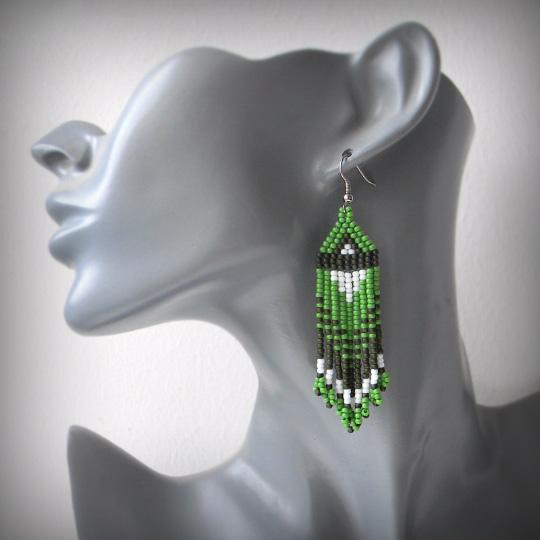 купить зеленые сережки из бисера бохо анабель 27 anabel27.ru