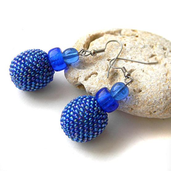купить бижутерию синего цвета - большие серьги шаровидной формы