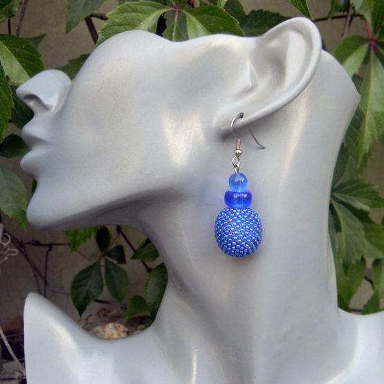 синие сережки украшение для девушки купить