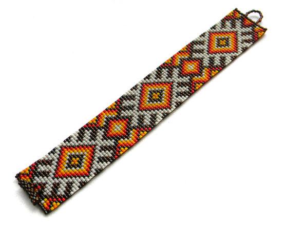 купить этнический браслет с узором украшение из бисера россия