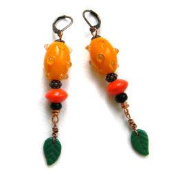 Яркие оранжевые серьги ручной работы