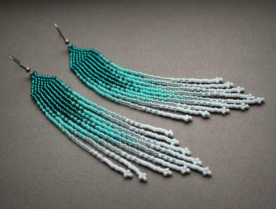 необычный подарок на др подруге бисерные украшения серьги купить в интернет магазине