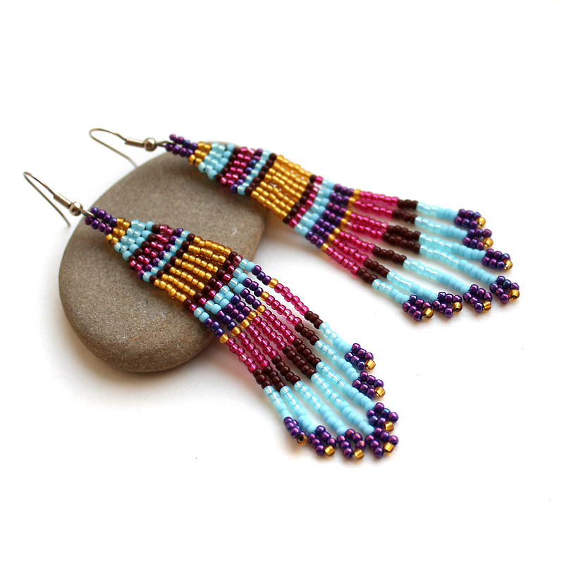 интересные сережки бижутерия в стиле бохо этно