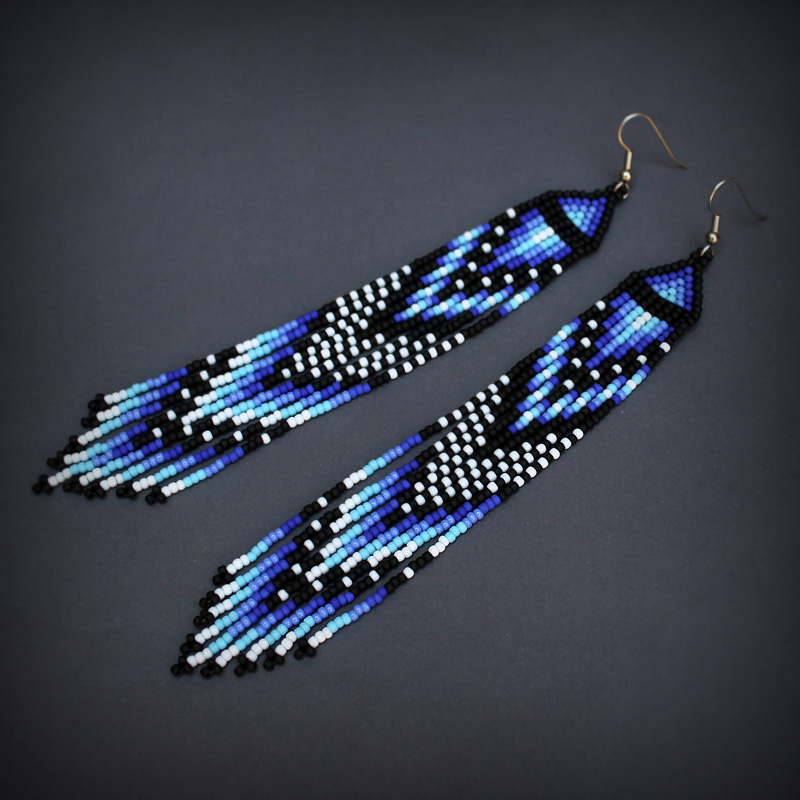 необычные этнические украшения длинные серьги из бисера