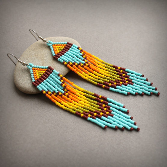 лучшие украшения серьги из бисера в этно стиле