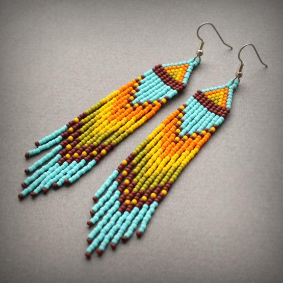 длинные бисерные сережки этно-стиль где купить цена