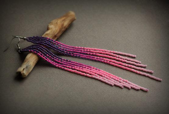 купить серьги до плеч украшения из бисера ручной работы