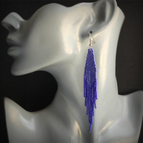 длинные висячие сережки синего цвета купить